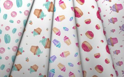 Kolekcja akwarelowe słodycze