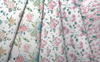 Collection de magnolias roses et d'hortensias