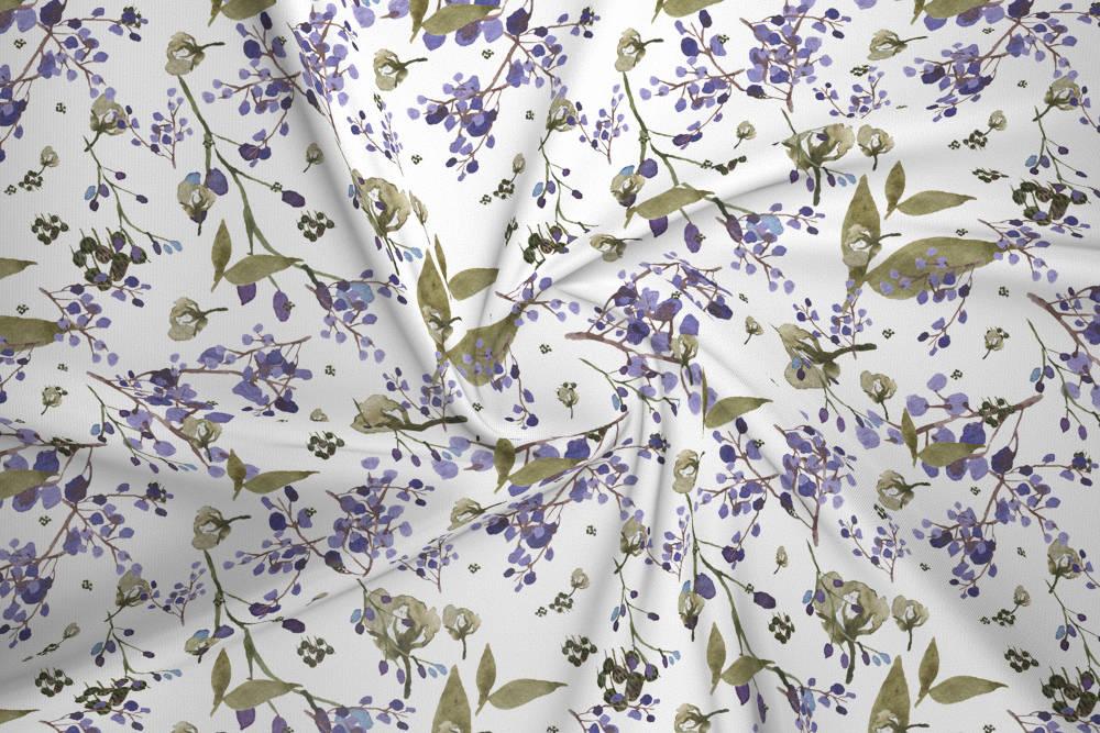 Dzianina Dresowa Drapana Zimowe Kwiaty Fioletowe House Of Cotton