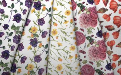 Kolekcja malowane kwiaty