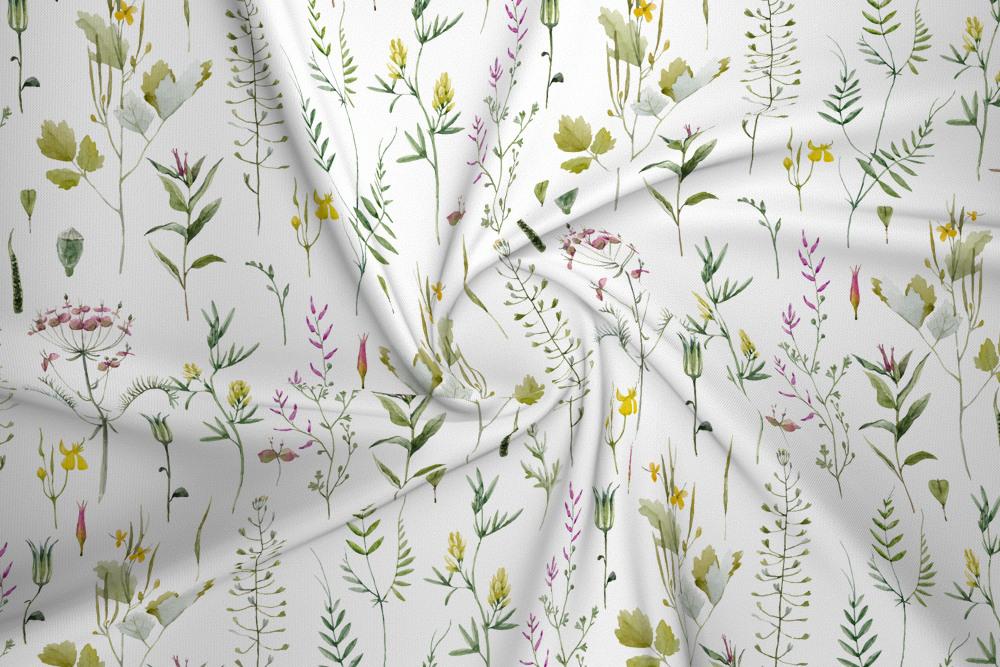 Dzianina Dresowa Drapana Ziola I Dzikie Kwiaty Na Bieli House Of Cotton