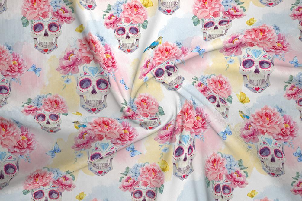 Dzianina Dresowa Drapana Meksykanskie Czaszki I Kwiaty House Of Cotton